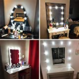Lvyinyin Vanity Lights Kit Hollywood Style Makeup Light Bulbs with Stickers Attached to Bathroom Wall Or Dressing Table Mirrors, Dimmable Switch, Power Plug, 10 Lights Daylight, Mirror Not Included