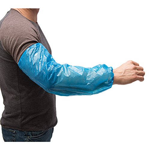 AMMEX - PSLEEVE-BL - Poly Sleeve - Disposable, Unisize, Blue (Case of 1000)