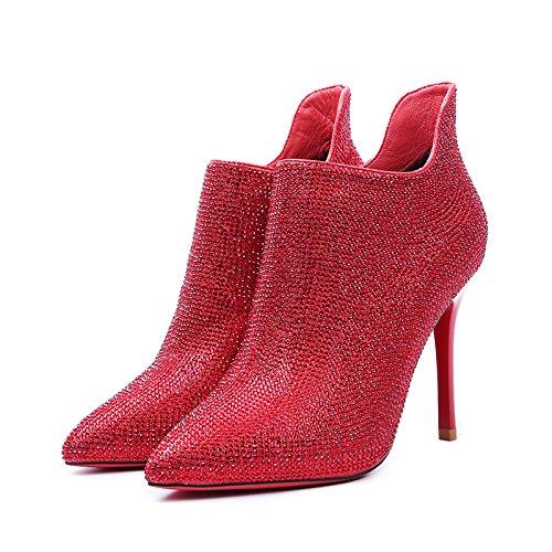 KPHY-Rote Stiefel Mit Hochhackigen Schuhen Die Hochzeit Schuhe Herbst Herbst Herbst Winter Wasser Bohren Kurze Stiefel Gut Ferse Und Stiefeletten 39 Des 2b185c