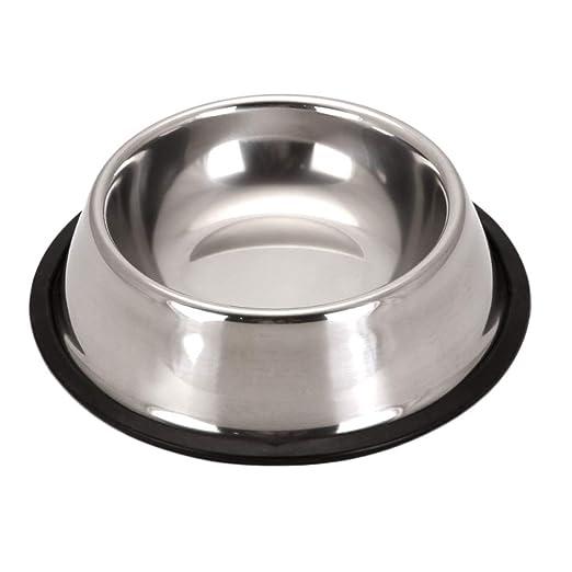 Scrox 1x Cuenco de Perro Gato Alimentos Bowl Acero Inoxidable Comedero para Mascotas Comedero Bebedero Size 15 * 12 * 4.5cm