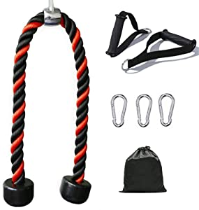 HAUSPROFI Tricep Rope Pull Down Rope Cable Attachment 26 Inch with 2 Exercise Handles + 3 Carabiner Clips & Carry Bag- Tricep Pull Down Rope - Cable Attachments for Gym, Home Gym Accessories