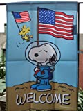 "Peanuts Snoopy & Woodstock Patriotic Astronaut.. WELCOME..One Sided Garden Decorative Flag 12"" X 18"" (Memorial Day , 4th of July)"