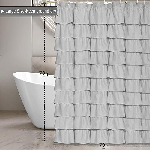 Volens Gray/Grey Ruffle Shower Curtain Fabric/Cloth/Rustic Shower Curtains for Bathroom, 72 x 72 inch Long by Volens (Image #2)