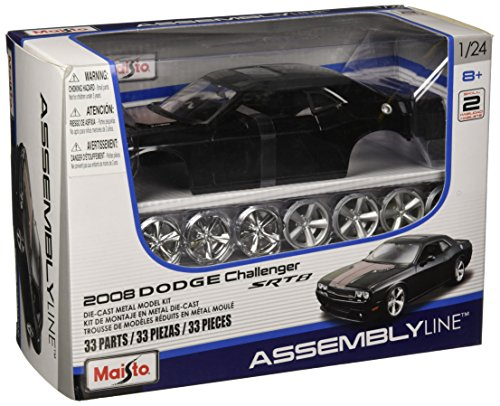 Die Model Cast Car Kits - Maisto 1:24 Scale Assembly Line 2008 Dodge Challenger SRT8 Diecast Model Kit (Colors May Vary)