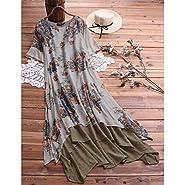 W-Fight 2019 Women Ladies Short Sleeve Dress Cotton Linen Retro Floral Irregular Dress Sundress