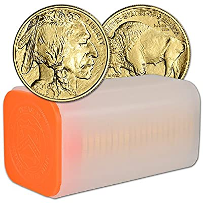2018 American Gold Buffalo (1 oz) 1 Roll - TWENTY (20) Coins in Mint Tube Brilliant Uncirculated