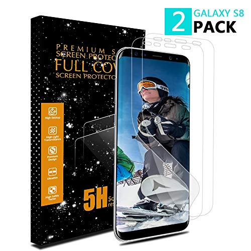 Samsung Galaxy S8 Screen Protector AAJO [2 Pack] [Not Tempered Glass] [Anti-Scratches] [High Touch Sensitivity] Ultra HD Clear Full Coverage TPU Screen Protector for Samsung Galaxy S8