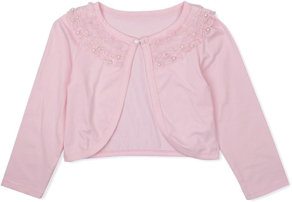 YOOJIA Kids Girls Long Sleeve Lace Flower Bolero Shrug Cardigan Bridesmaids Party Flower Dress Cover ups Jacket Age 1-10 Years