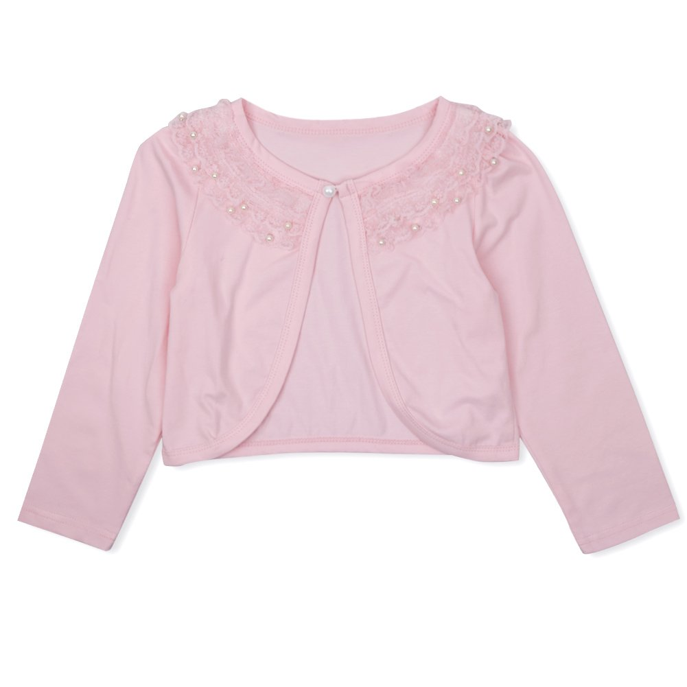 CHICTRY Little Girls' Long Sleeve Beaded Lace Bolero Cardigan Flower Girl Shrug Dress Cover Up Lace Pink 7-8