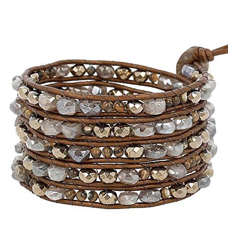 Chan Luu Grey & Goldtone Mineral Stone Mix Beaded Leather Silvertone Wrap Bracelet