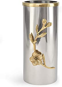 Serene Spaces Living Orchid Stem Cylindrical Vase with Gold Rim, Large Size