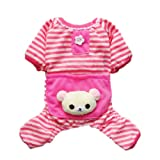 Cute Bear Comfy Dog Pajams Dog Shirt Stripes Dog Jumpsuit Pet Dog Clothes Free Shipping,Pink,L, My Pet Supplies