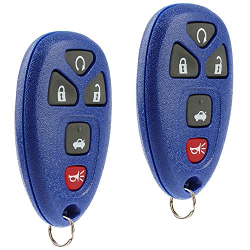(Key Fob Keyless Entry Remote fits Chevy Impala Monte Carlo / Cadillac DTS / Buick Lucerne 2006 2007 2008 2009 2010 2011 2012 2013 (Blue), Set of 2)