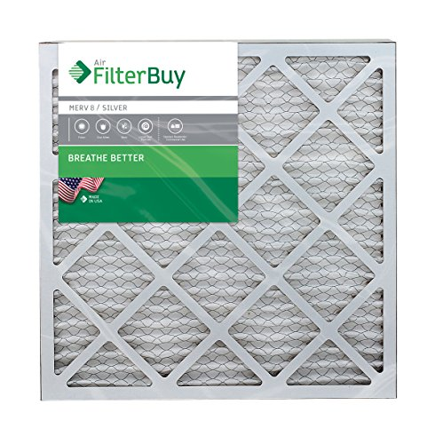 FilterBuy AFB Silver MERV 8 20x20x1 Pleated AC Furnace Air Filter.  Pack of 4 filters. 100% produced in the USA.