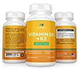 Nutrissa® Vitamin D3 with K2 Mk7 - Non-GMO Small Chewable Tablets (2000iu 75 mcg) - High Potency Supplement for Immune Support and Bone Health - 100% Money Back Guarantee