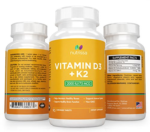 UPC 646437338233, Nutrissa® Vitamin D3 with K2 Mk7 - Non-GMO Small Chewable Tablets (2000iu 75 mcg) - High Potency Supplement for Immune Support and Bone Health - 100% Money Back Guarantee