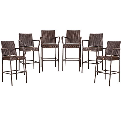 Cloud Mountain Updated Tax Free Set of 6 Outdoor Wicker Rattan Bar Stool Outdoor Patio Furniture Bar Stool Chairs Patio Dining Chairs, Brown