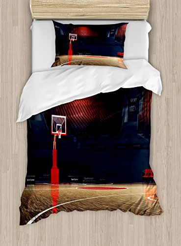 Ambesonne Basketball Duvet Cover Set Twin Size, Picture of Empty Basketball Court Sport Arena with Wood Floor Print, Decorative 2 Piece Bedding Set with 1 Pillow Sham, Brown Black and Red Stadium Court