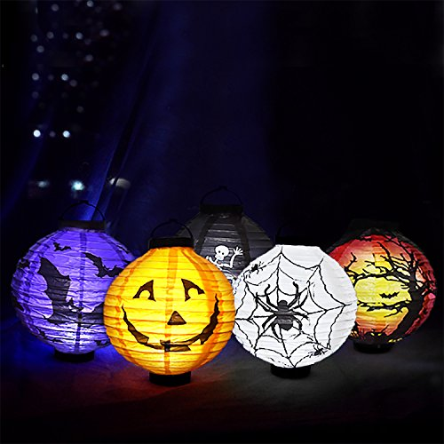 Halloween Decorations Paper Lanterns with LED Light,5pcs of Pumpkin Spider Bat Skeleton Castle Halloween Party Supplies for $<!--$14.95-->