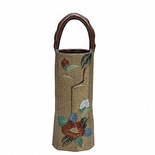 Jpanese traditional ceramic Kutani ware. Ikebana flower vase. Gold leaf Japanese camellia. With paper box. ktn-K5-1267