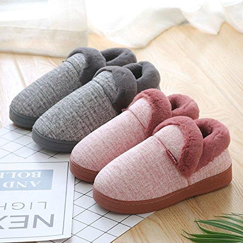 CWAIXXZZ pantofole morbide Inverno piscina home anti-slittamento sul cotone pantofole, uomini di spessore maggiorato di velluto caldo inverno pacchetto con il cotone calzature adatte per ,39/40 38/39,