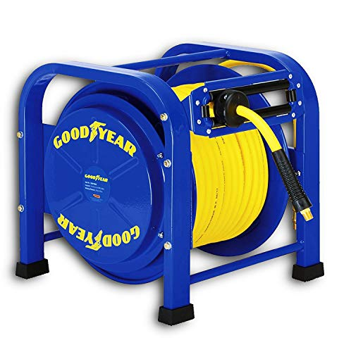 GOODYEAR Air / Water Hose Reel Retractable Spring Driven Steel Elite Portable Heavy Duty Industrial Longest Quad Pod 3/8