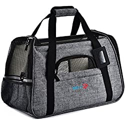 SENYEPETS Soft-Sided Pet Travel Carrier Mesh Windows Fleece Padding Small Dogs Cats (Grey)