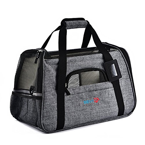 SENYEPETS Soft-Sided Pet Travel Carrier with Mesh Windows and Fleece Padding for Small Dogs and Cats (Grey)