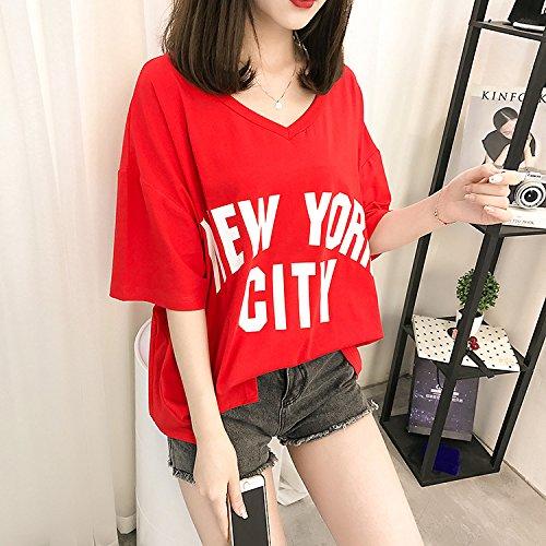 Fashion Estivi Donna Camicia Donna Camicetta Manica Corta Tops Rosso T Grazioso Shirt Stampato Casual BIRAN Base Elegante Digitale Sciolto Shirts xFtvw