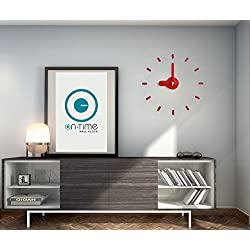 Contemporary Wall Clock, Kids, Office, Kitchen, Home, Japanese Design Award, DIY Stickers Installation On Flat Surfaces & Mirrors, Accurate & Silent Quartz Movement, Great Gift. Bee-On-Time(Red Lady)