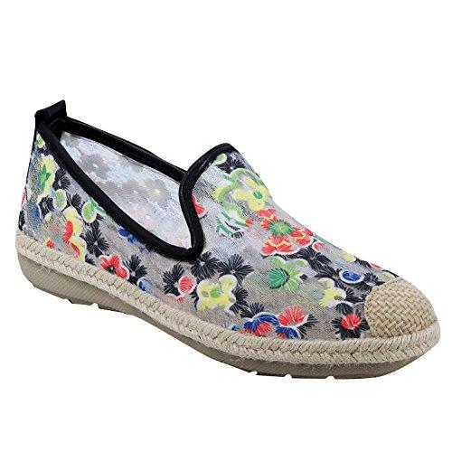Show Shine Dames Kleurrijke Mesh Flats Slide Loafers Schoenen Zwart