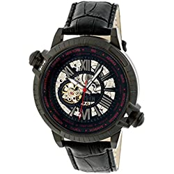 Reign Mens Thanos Watch,Red Dial,Black Bezel,Black Leather Strap