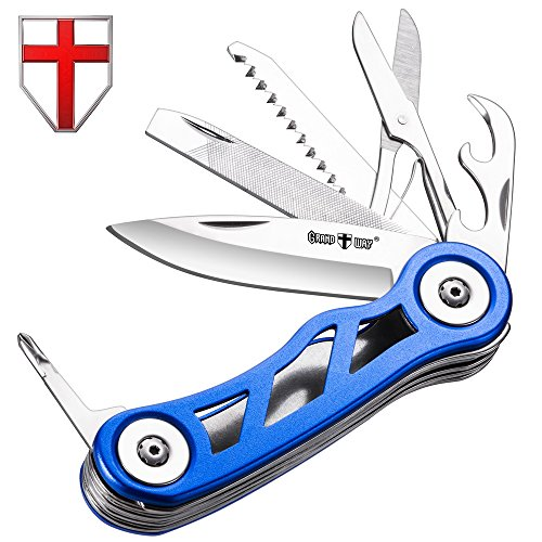 Swiss Army Knife Multi Function - Compact Blue Skeleton Multi Purpose Folding Pocket Knife Mini Utility Tool - Style Knife Classic Blade, Can Opener, Saw - Grand Way 33014