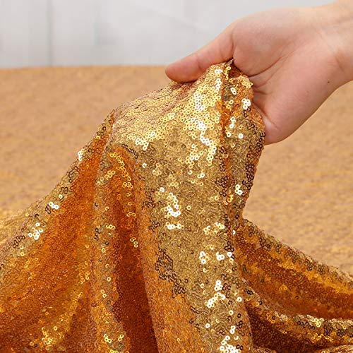 Party Delight Sequin Fabric 5 Yards 15 Feet, Dubai Gold by The Yard, for Tablecloth, Linen, Home Dector DIY