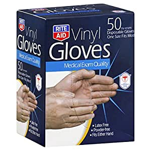 Amazon.com: Rite Aid Gloves, Vinyl, Disposable, One Size