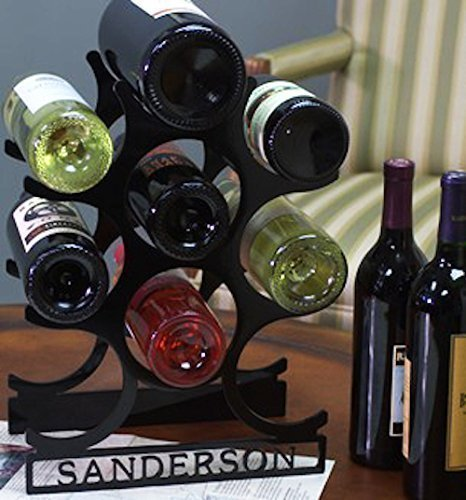 Personalized Wine Bottle Rack - Powder Coated Steel - 100% Gloss Black Finish - Durable, Strong and Handmade in America - Holds up to 9 Bottles