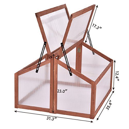 SKB family Double Box Garden Wooden Green House Cold Frame Raised Plants Bed Protection New
