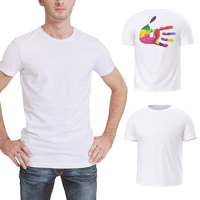ZODOF Camisetas de Manga Corta de Corte Estándar Hombre Top Hombres Blusa Camiseta de Color Liso: Amazon.es: Ropa y accesorios