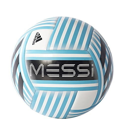 adidas Performance Messi Soccer Ball, White/Energy Blue/Black/Light Grey, Size 5