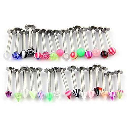 Chin Lip Ring Labret (CrazyPiercing 30 Assorted Steel Labret Lip Chin Bar Ring Piercing 1.2Mm Bar 16G Multicolor)