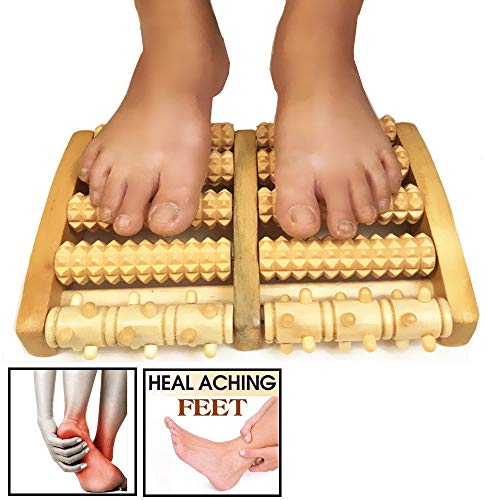 Wooden Dual Foot Massager Roller (Large) Pain Relieve Plantar Fasciitis, Foot Pain, Arch Painand Stress Massage, Relax, Chinese Massager – Perfect Gift Idea