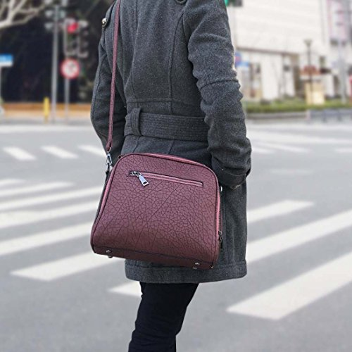 BMC Donna Testurizzato Borsa Cartella In Finta Pelle Stile Con Manico Borsa A Spalla Rustici Cherry