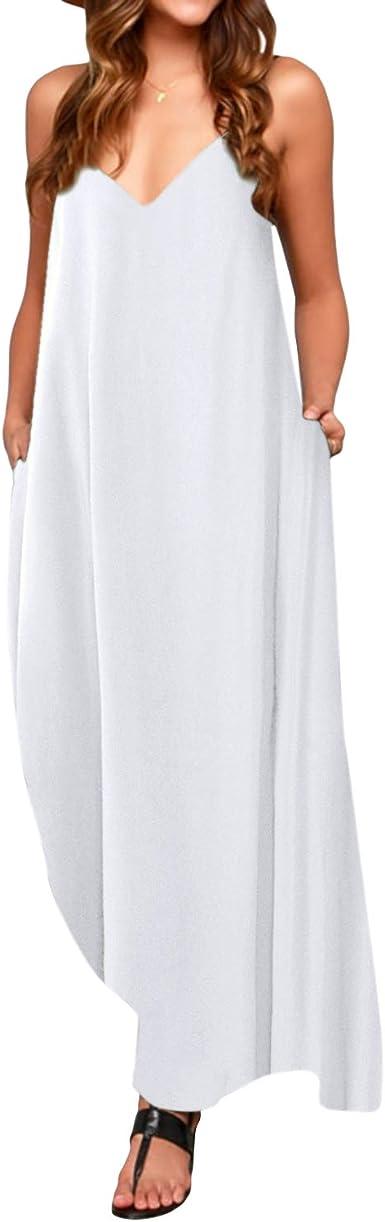 TALLA XXL. ACHIOOWA Mujer Vestido Elegante Casual Dress Cuello V Sin Manga Playa Tirantes Bolsillos Punto Falda Larga Blanco XXL