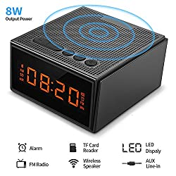 Bluetooth Speaker Alarm Clock FM Radio,Hcman Portable Waterproof Wireless 8W Smart Speaker with HD Sound and Bass,Hands Free Phone Calling Mic,Micro TF Slot,10H Playtime for iPhone,iPad,Samsung,etc
