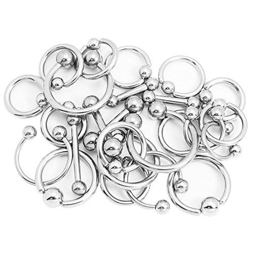 50 Mixed Body Piercing Jewelry Pack - Random Assortment of 8ga, 10ga, 12ga Jewelry
