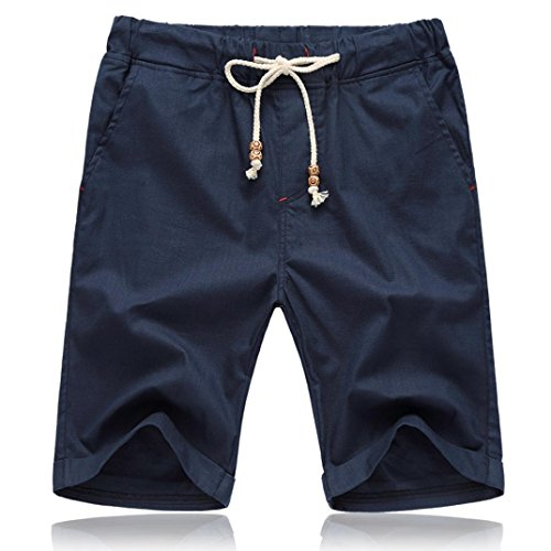 Men Shorts, 2018 Summer Linen Cotton Solid Beach Casual Elastic Waist Classic Fit Shorts (Navy, ()