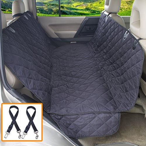 Silk Way Dog Seat Covers for Cars with 2 Dog Seat Belts as Bonus – Convertible to Cargo Area Liner – Sturdy Pet Seat Cover with Strong Straps and Seams, 100% Waterproof, Fits Most Cars (Black) Review