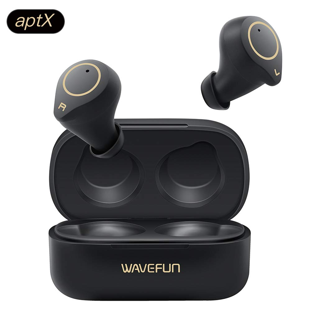 True Wireless Earbuds AptX, Wavefun XPods 3 HiFi Headphones IPX7 Waterproof Bluetooth 5.0 Pods Touch Control Wireless Sports Earphones with Dual Mic CVC8.0 Noise Cancelling Clear Call Headset