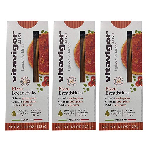(Vita Vigor Pizza Flavor Grissini Breadsticks - Pack of 3-4.4 Oz. per box)