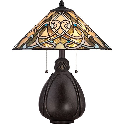 Lamp Quoizel Bronze Table (Quoizel TF1846TIB 2-Light Tiffany Table Lamp in Imperial Bronze)